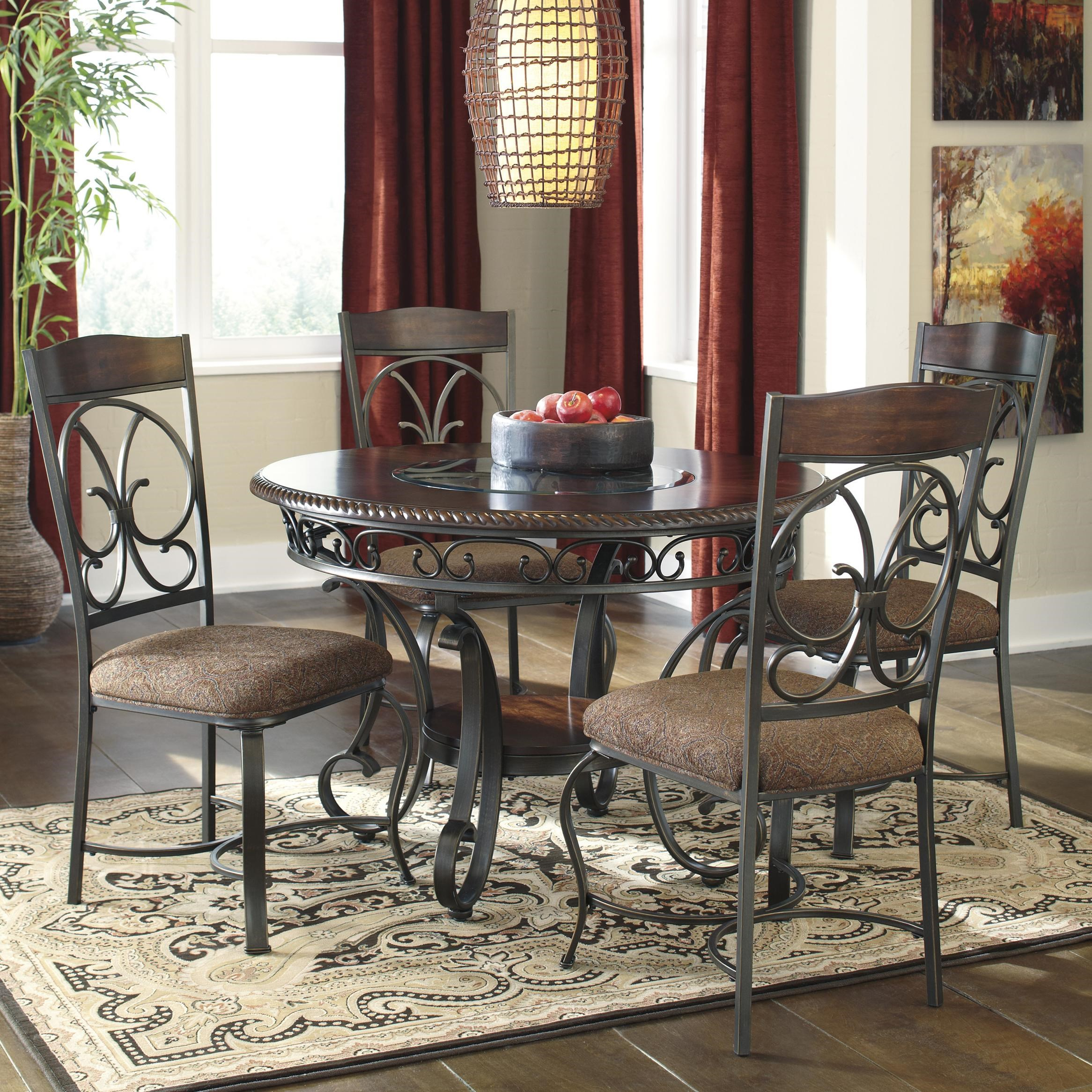 Dining Room Chairs Set Of 4 Glambrey Round Dining Table And 4 Chair Set With Metal Accents By Ashley Signature Design At Rooms And Rest