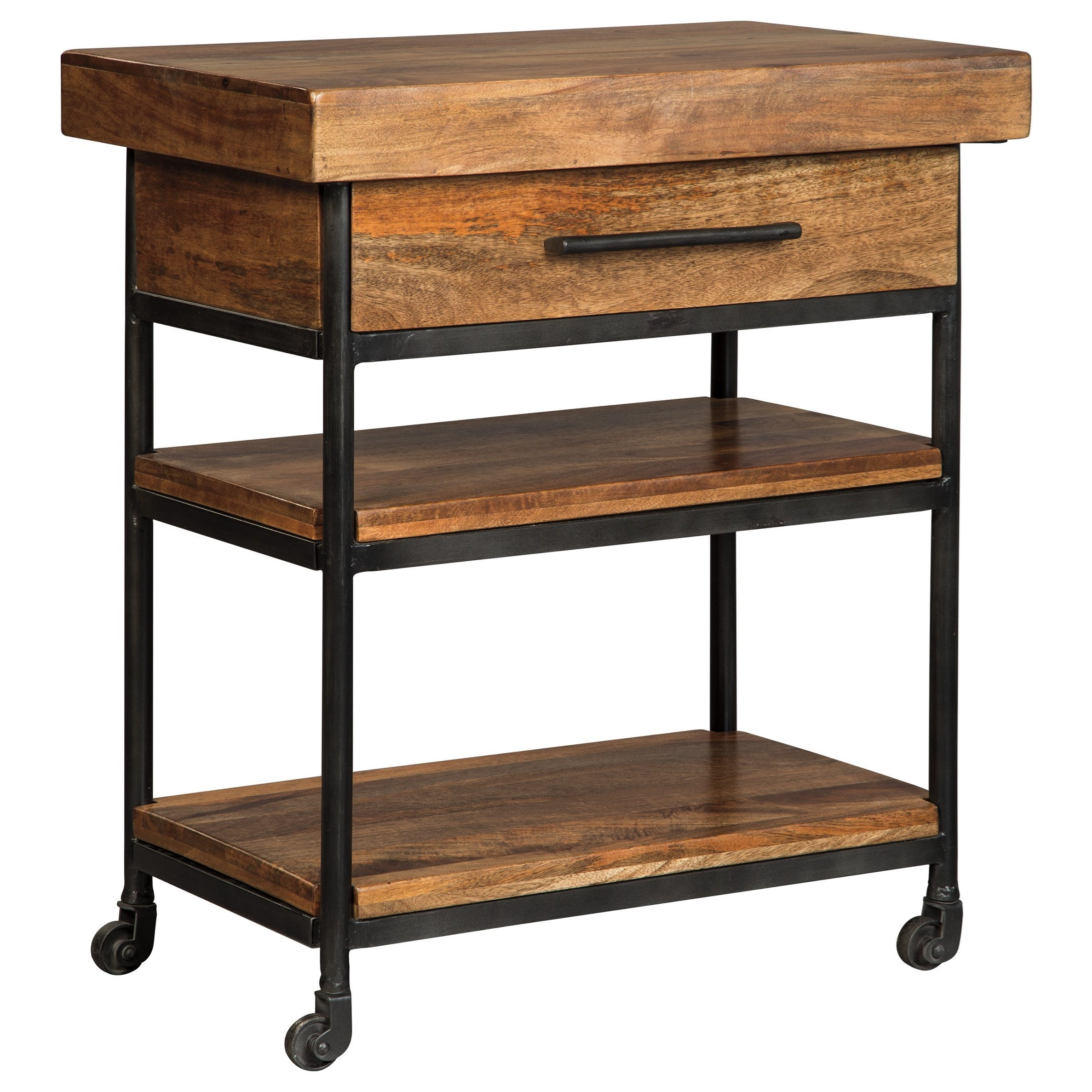 kitchen serving cart prefab outdoor grill islands signature design by ashley glosco solid wood metal gloscoserving