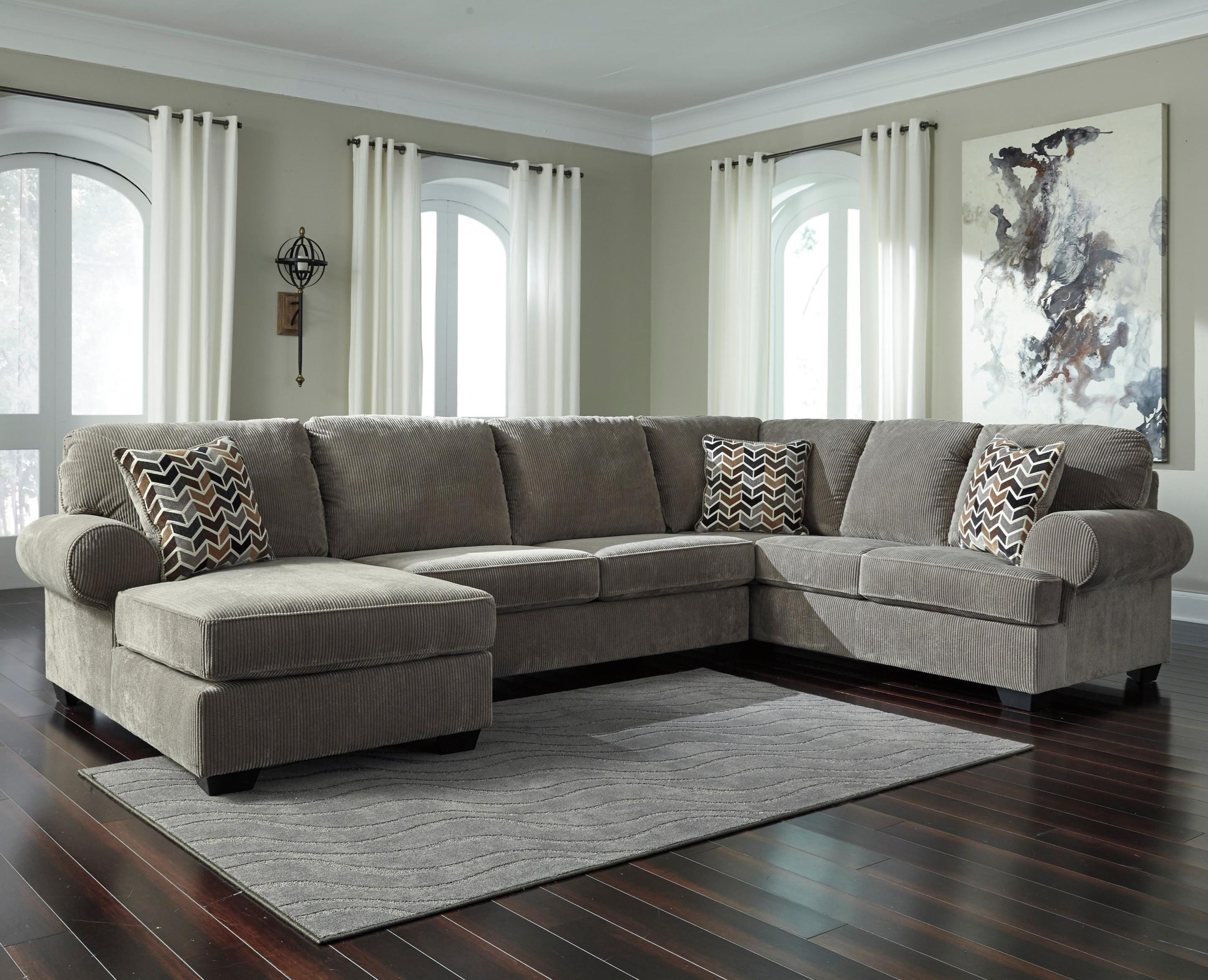 jinllingsly contemporary 3 piece sectional with left chaise in corduroy fabric by signature design by ashley at westrich furniture appliances