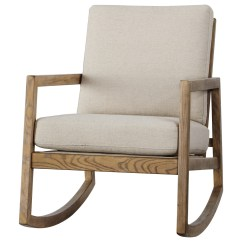 Wood Frame Accent Chairs Folding Fabric Novelda Upholstered Rocking Chair With Exposed