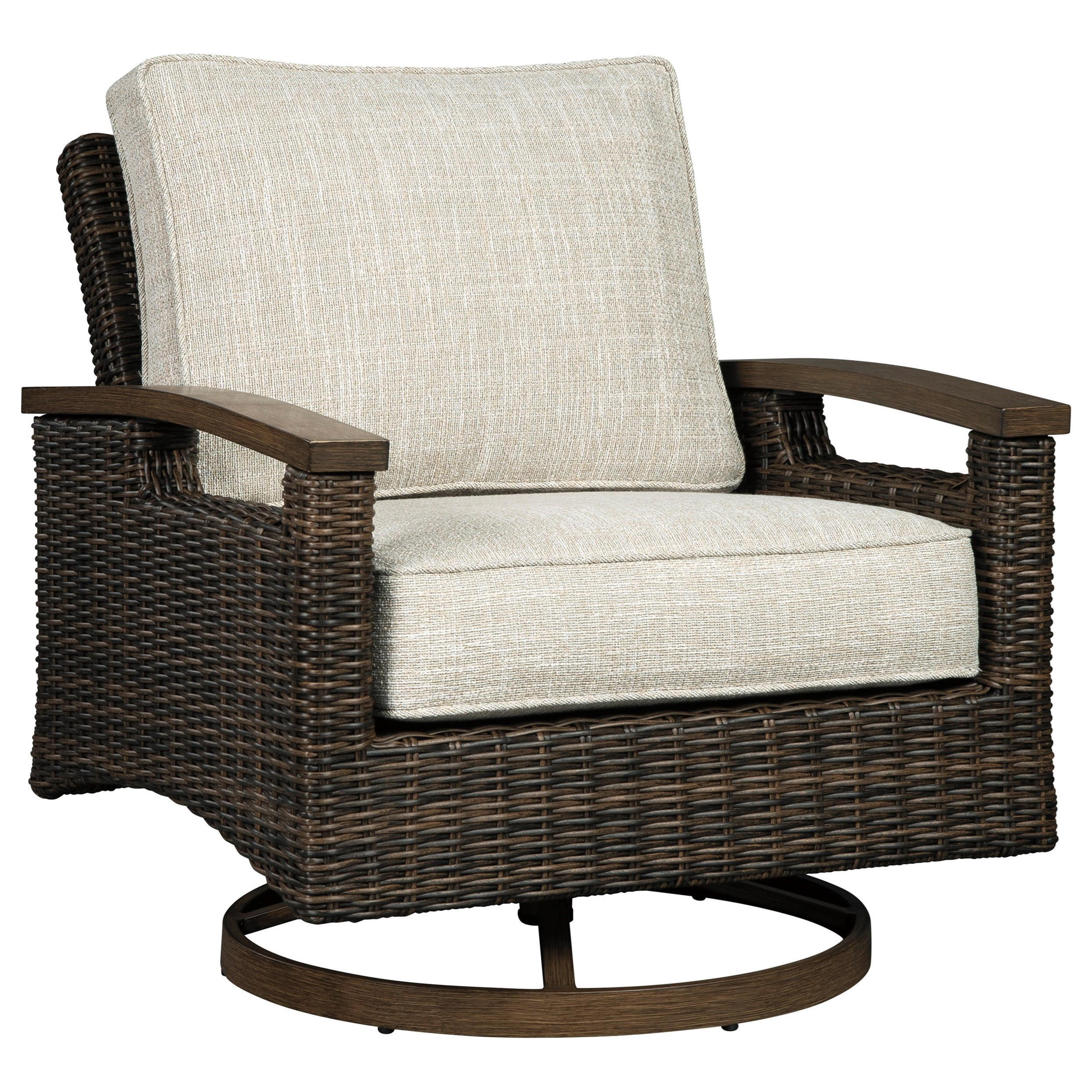 Wicker Swivel Chair Paradise Trail Set Of 2 Resin Wicker Swivel Lounge Chairs By Signature Design By Ashley At Olinde S Furniture