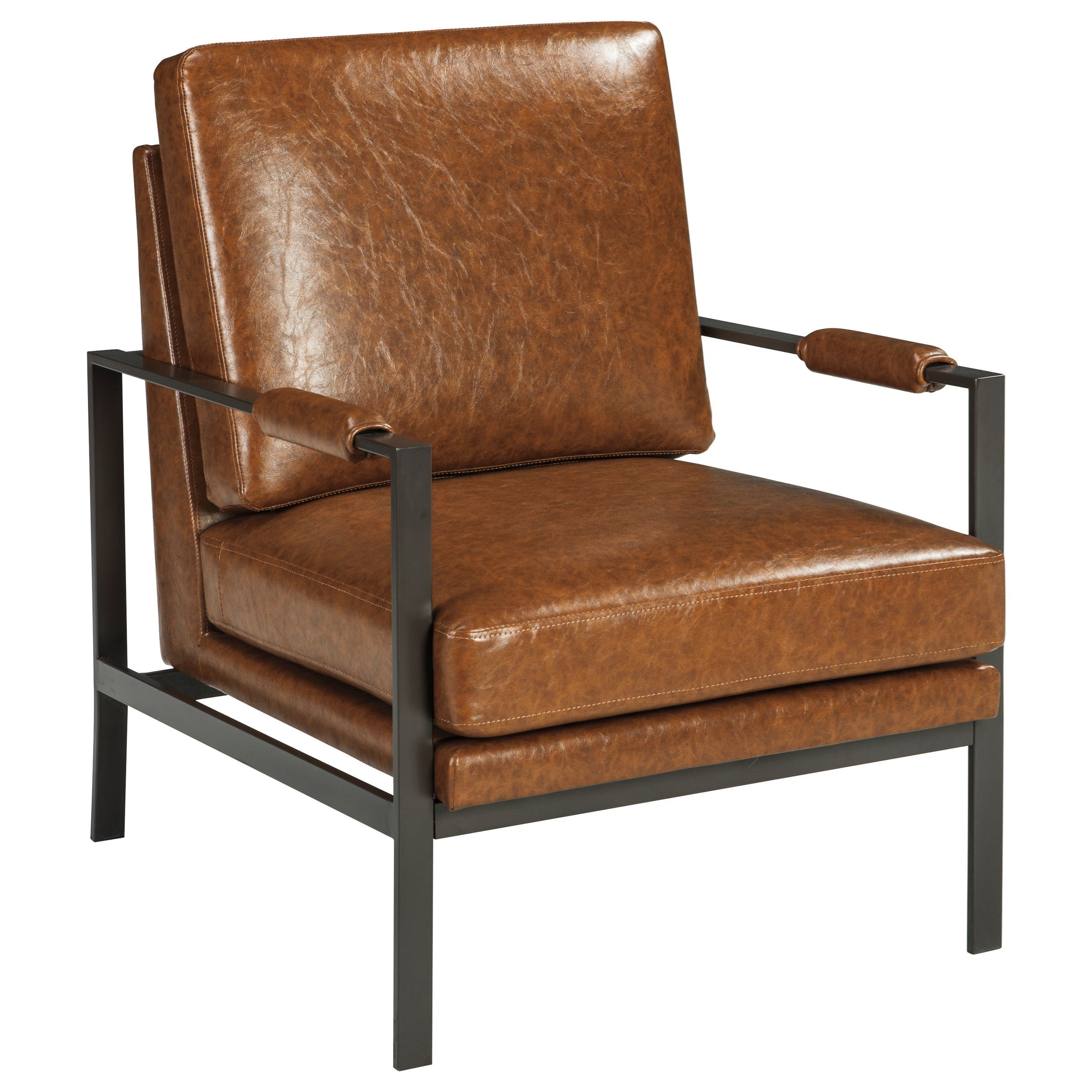 leather accent chairs unusual for sale signature design by ashley peacemaker dark bronze finish metal arm chair with light brown faux
