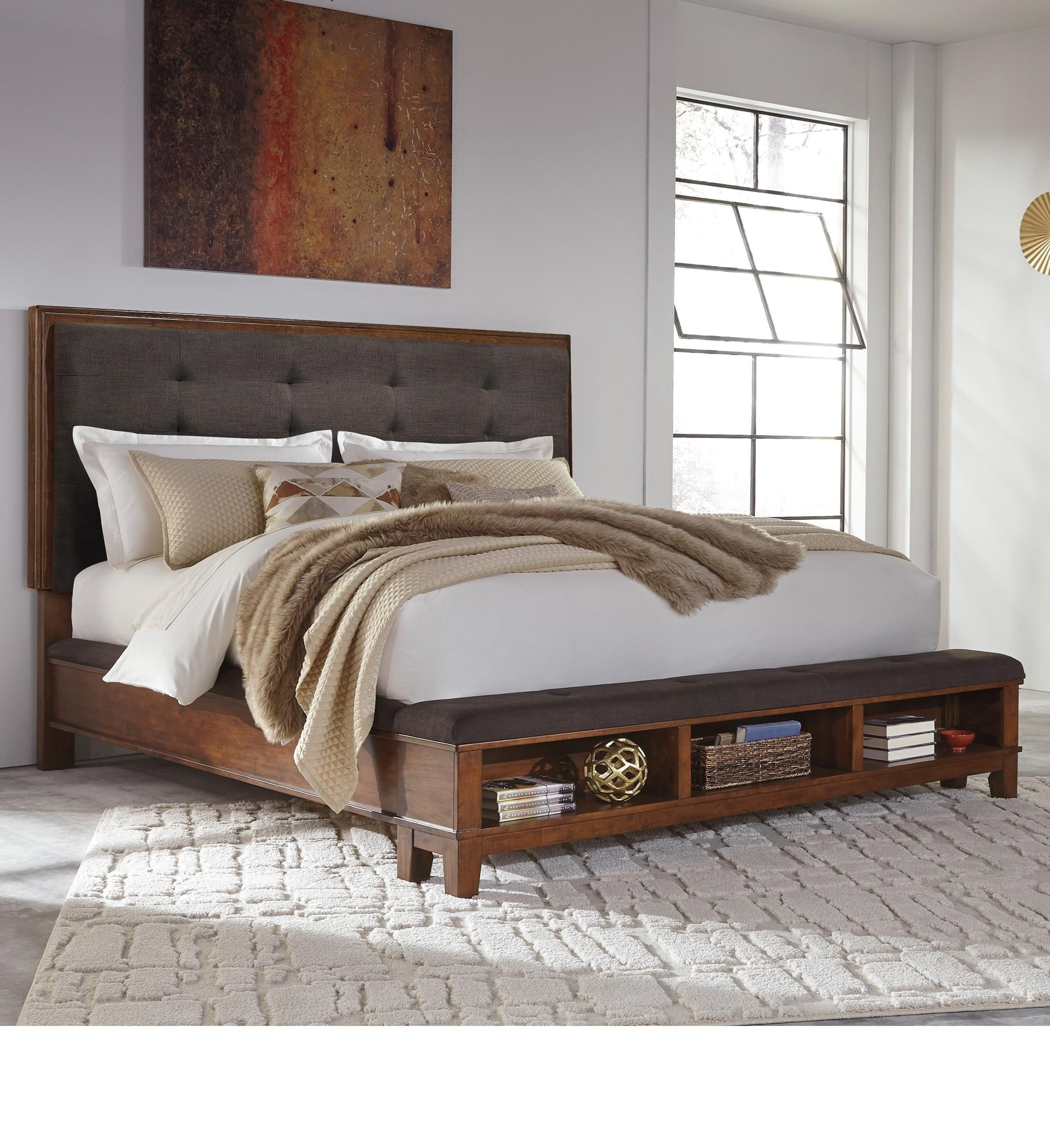 ralene king upholstered bed with storage footboard