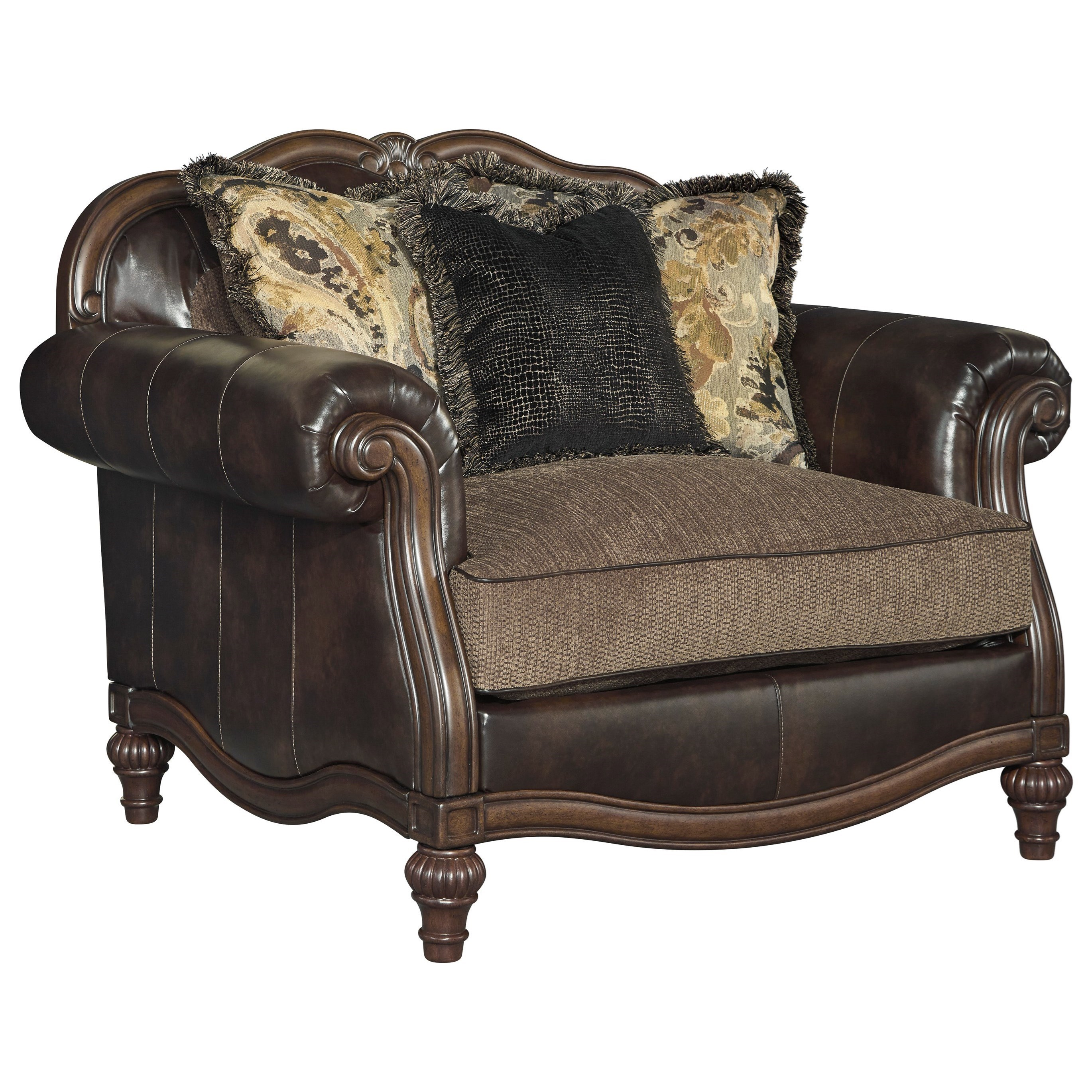 brooklyn bonded leather lounger chair and ottoman rocking woodworking plan signature design by ashley winnsboro durablend 5560223 traditional fabric match a half