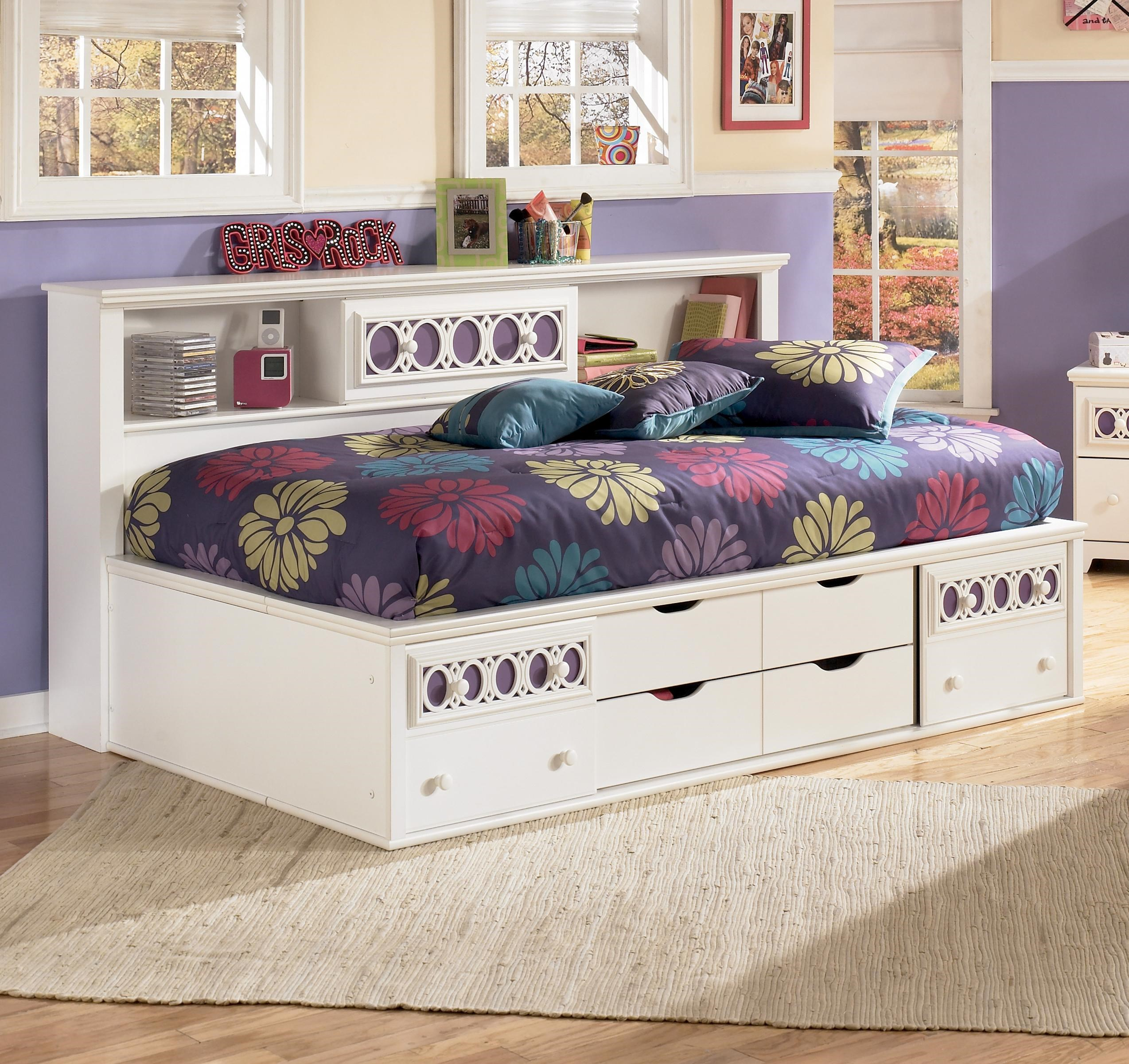 zayley twin bedside bookcase daybed with customizable color panels by ashley furniture signature design at del sol furniture