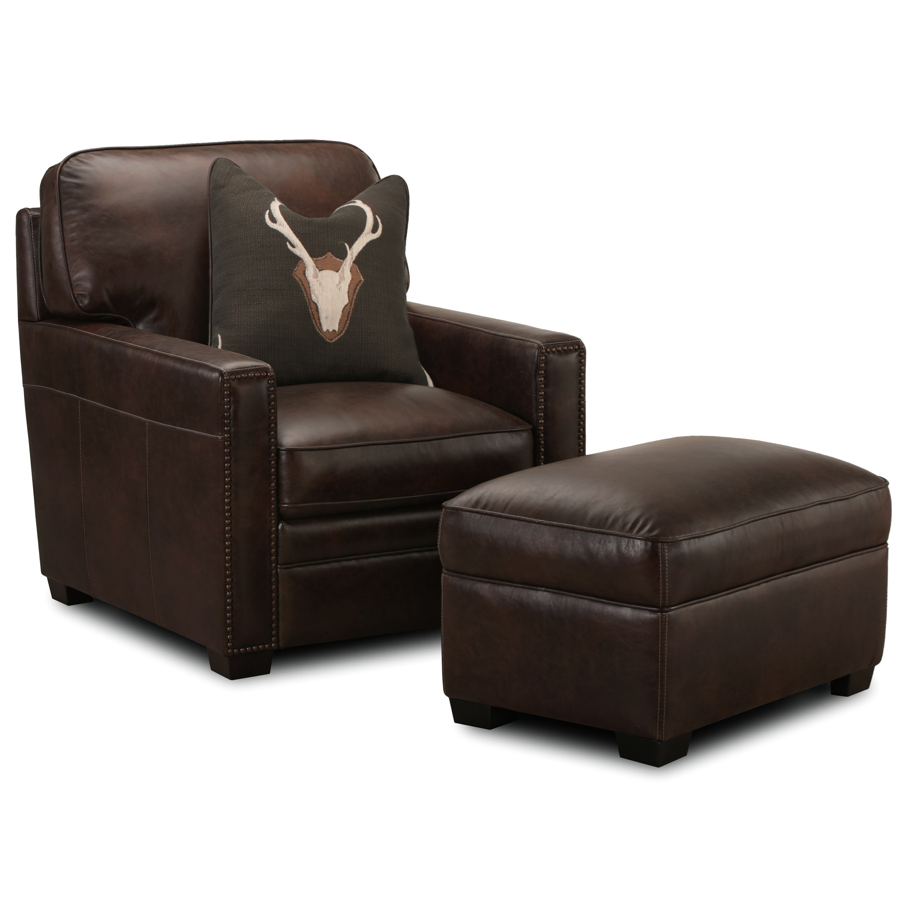 Chair And Ottoman Set J452 Leather Chair With Nailheads And Ottoman Set By Simon Li At Conlin S Furniture