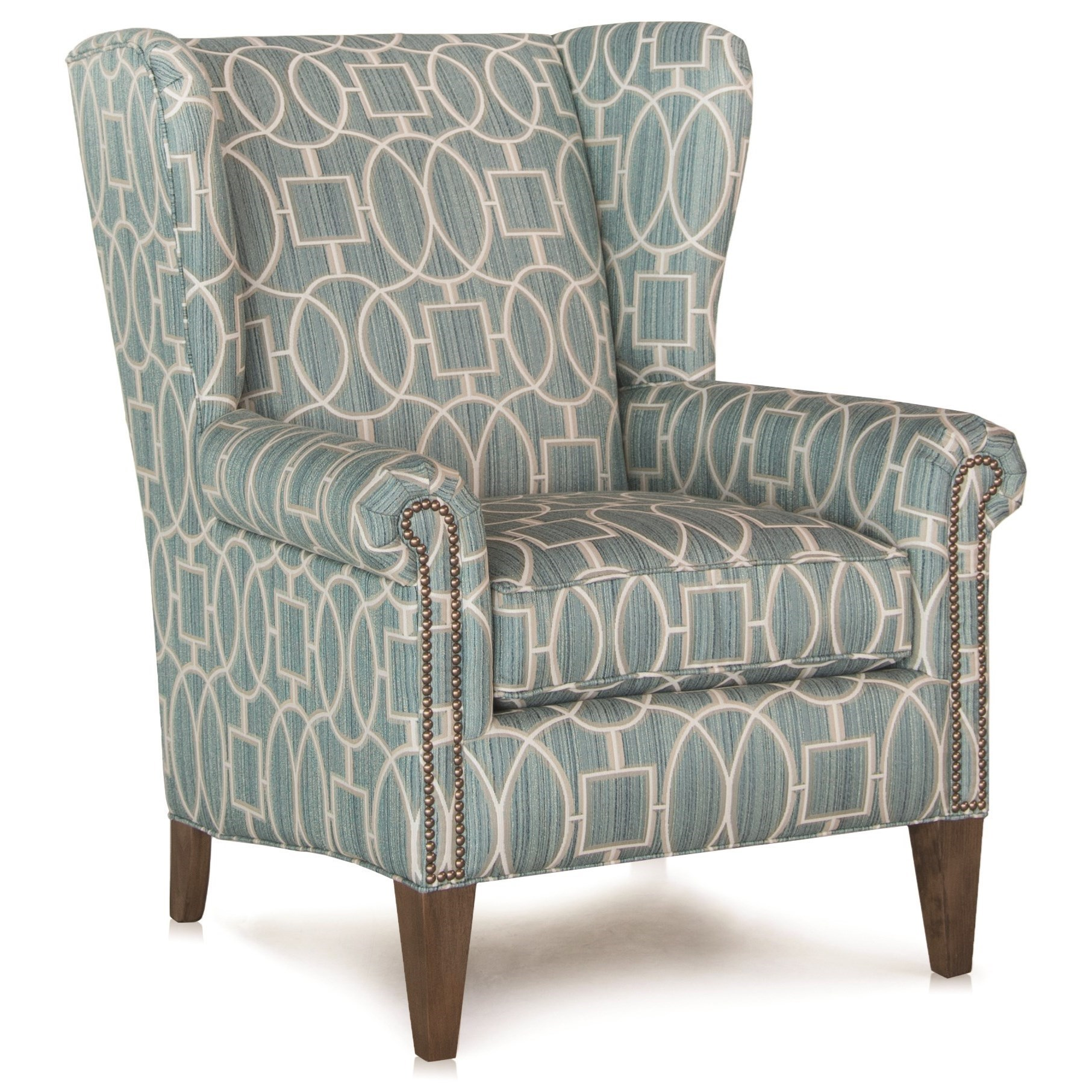 traditional wingback chair bentwood chairs with cane seat and back smith brothers 505 wing w nailhead trim by