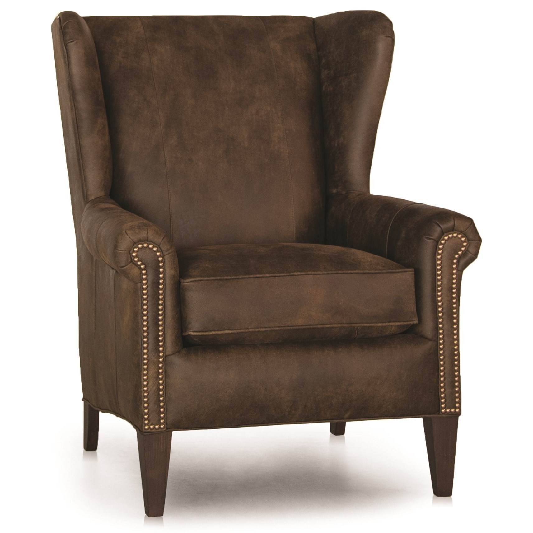 traditional wingback chair glider rocking and ottoman smith brothers 505 wing back w nailhead trim