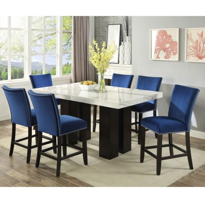 Steve Silver Camila 7 Piece Counter Height Dining Set With Marble Table Top A1 Furniture Mattress Pub Table And Stool Sets