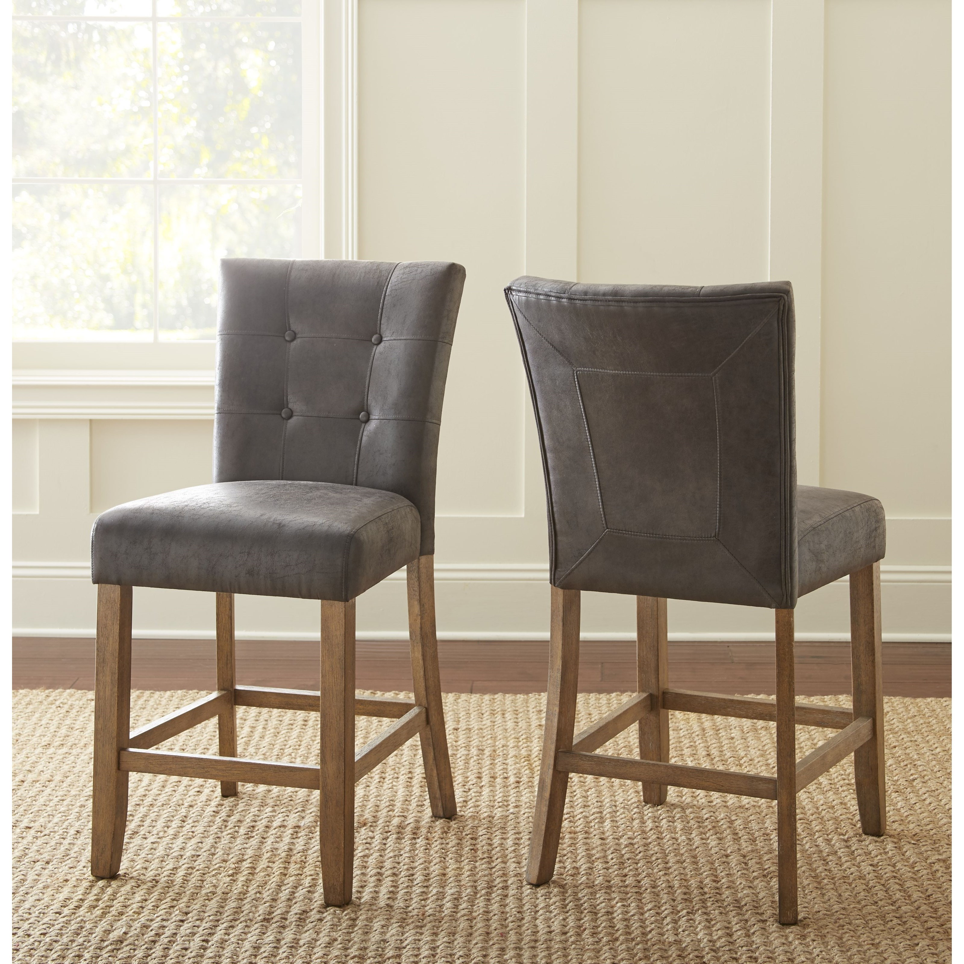 upholstered counter height chairs large occasional debby transitional stool with button morris home debbybar