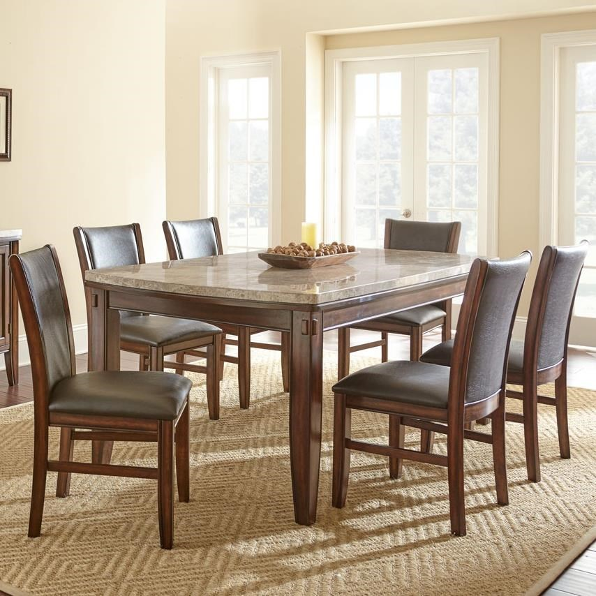 Dining Room Upholstered Chairs Eileen 7 Piece Marble Topped Dining Table With Upholstered Side Chair Set By Prime At Prime Brothers Furniture