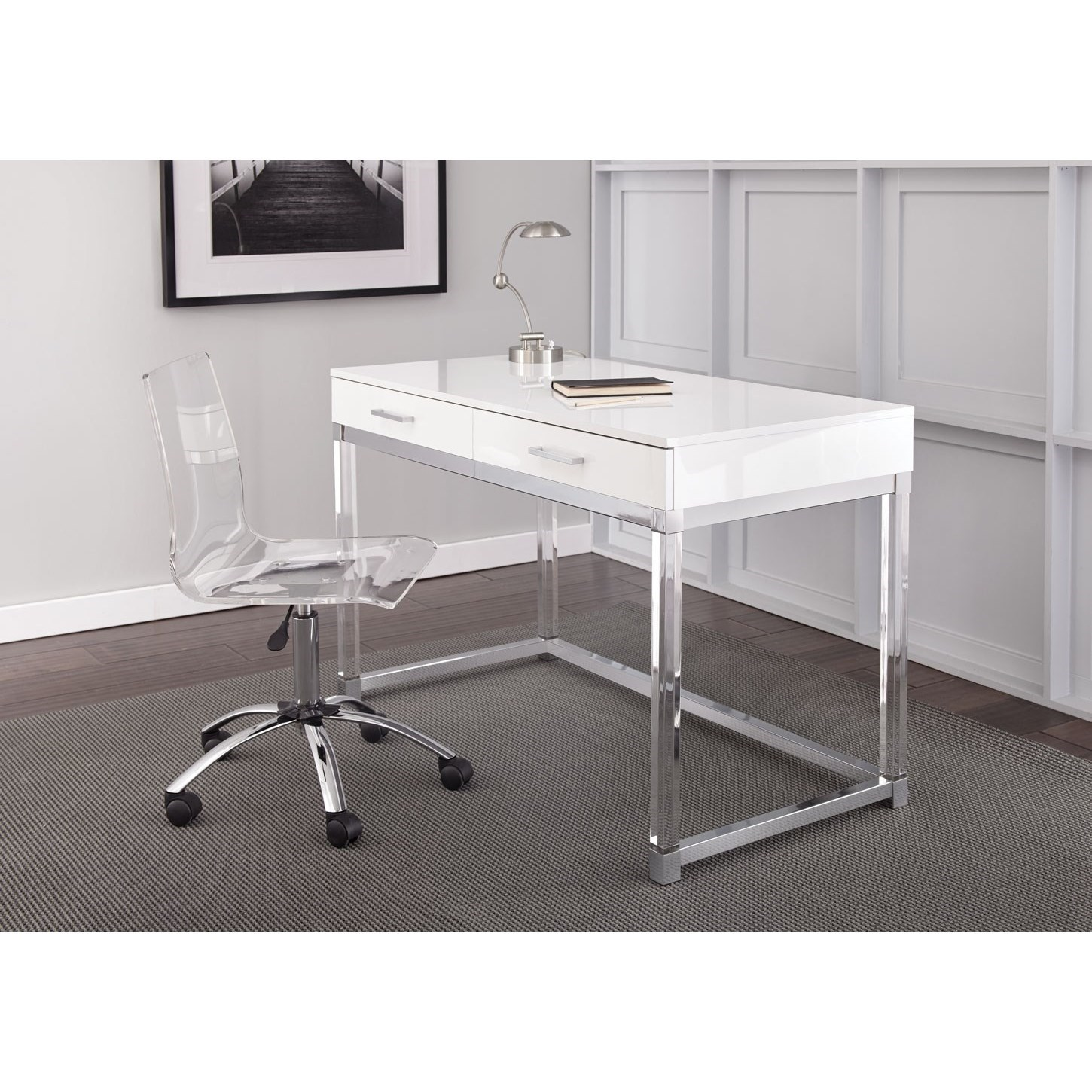 Desk And Chair Set Everett Chrome And Acrylic Writing Desk And Swivel Chair Set By Steve Silver At Wayside Furniture