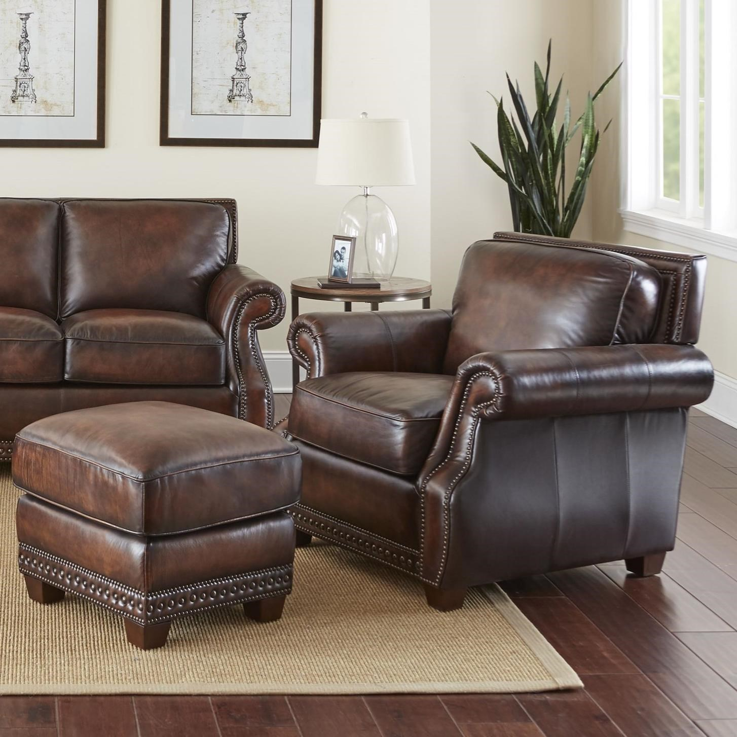 Leather Chair And Ottoman Jamestown Traditional Leather Chair And Ottoman With Nailheads