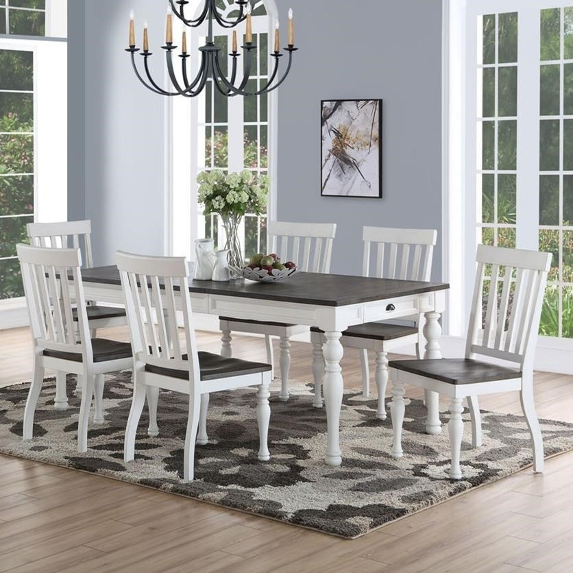 Dining Room Chair Sets Joanna Farmhouse Table And Seven Chair Set By Prime At Prime Brothers Furniture