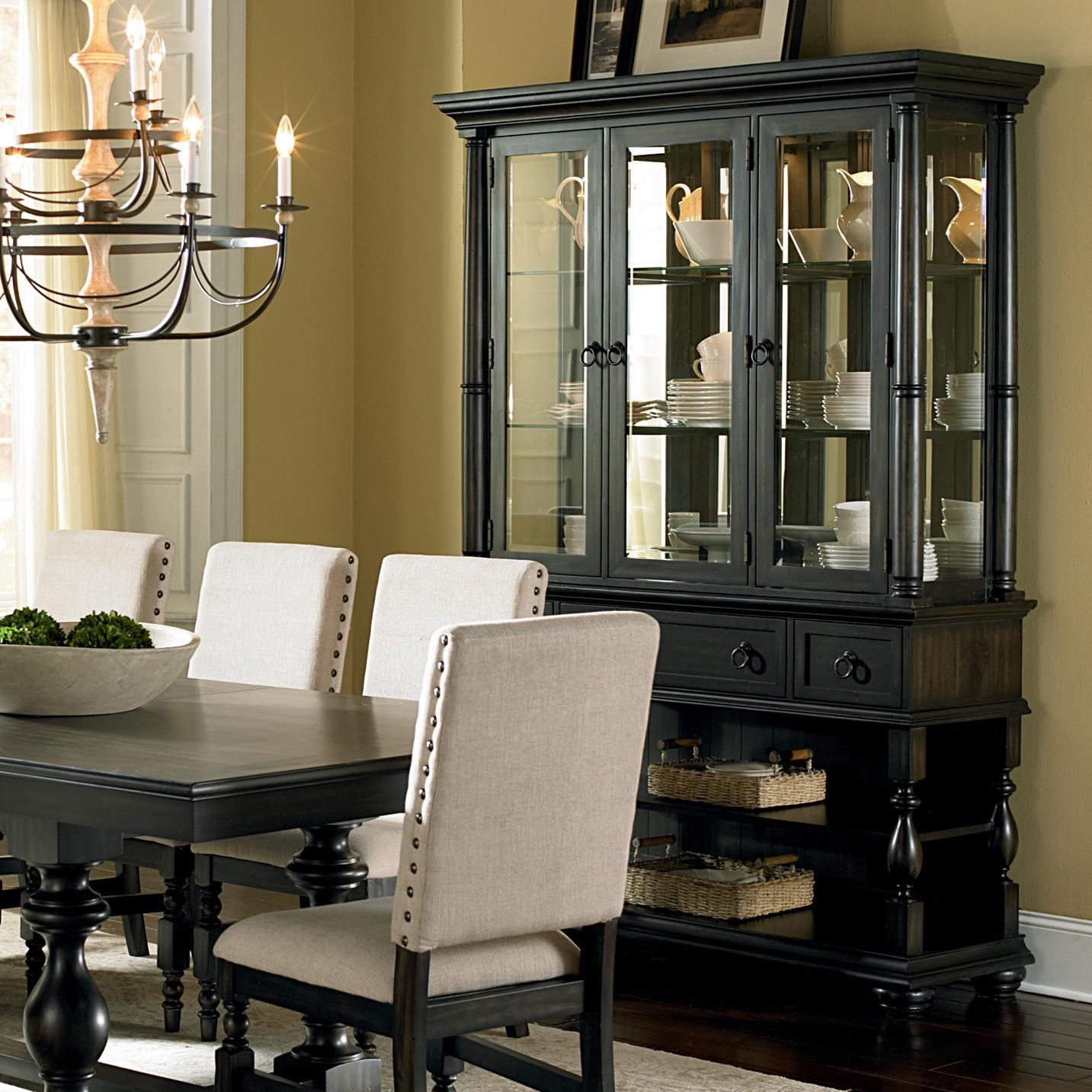 Steve Silver Leona Cottage Antique Black Buffet Amp Hutch With Shelves Amp Drawers Walkers