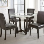 Steve Silver Verano 5pc Contemporary 45 Round Glass Top Dining Table Set With Black Chairs Wayside Furniture Dining 5 Piece Sets