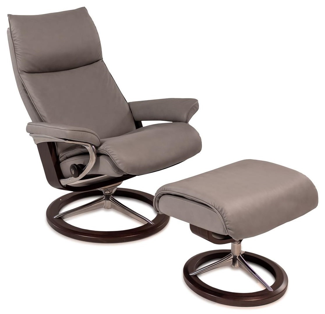 reclining chair with ottoman leather party chairs covers stressless aura medium paloma silver w wenge signature base by