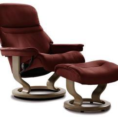 Recliner Vs Chair With Ottoman Chicco Travel High Stressless Sunrise Small Batick Burgundy Sunrisesmall Classic Base