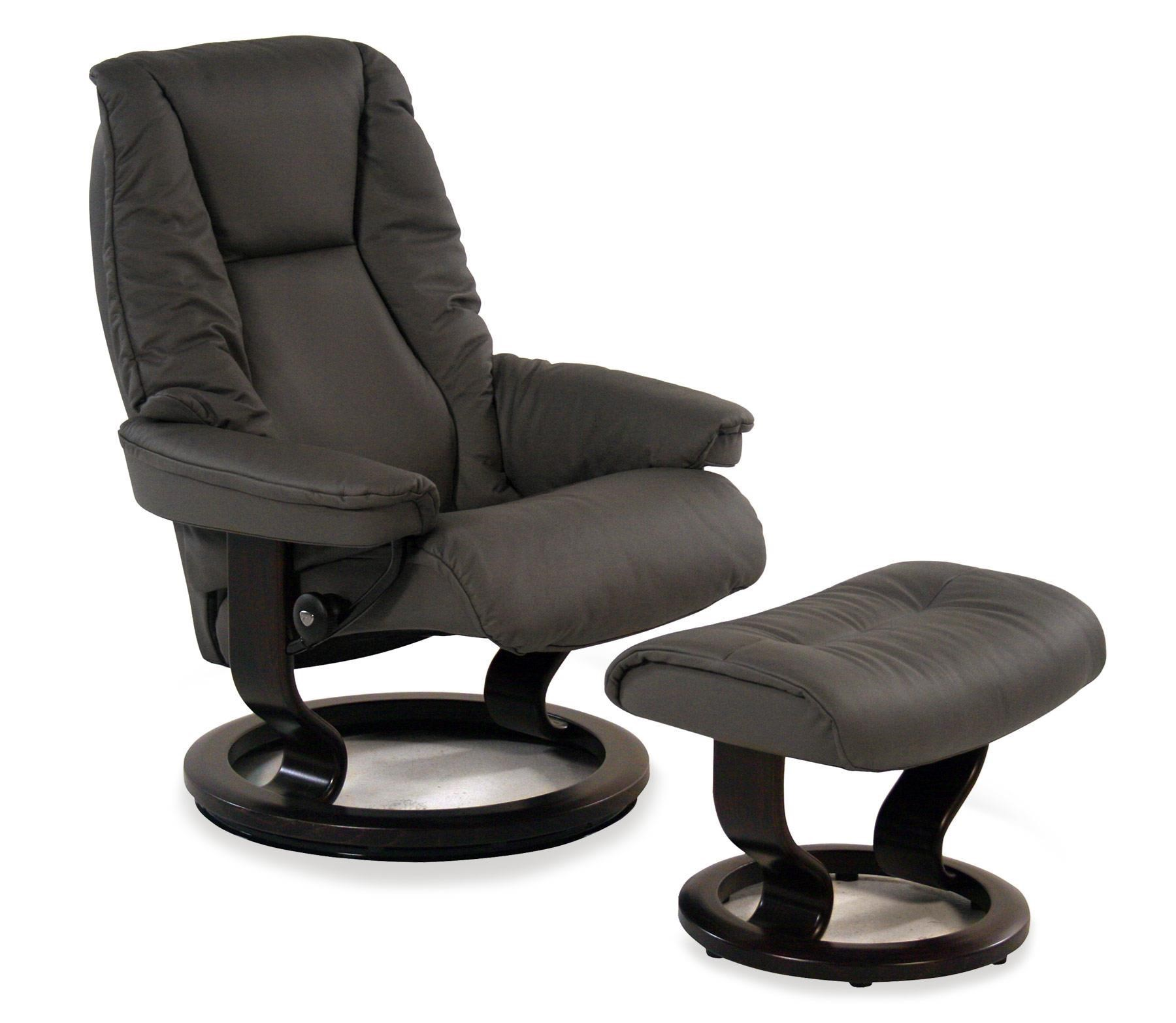 Classic Chair Live Medium Reclining Chair Ottoman Paloma Metal Grey W Classic Base By Stressless By Ekornes At Rotmans