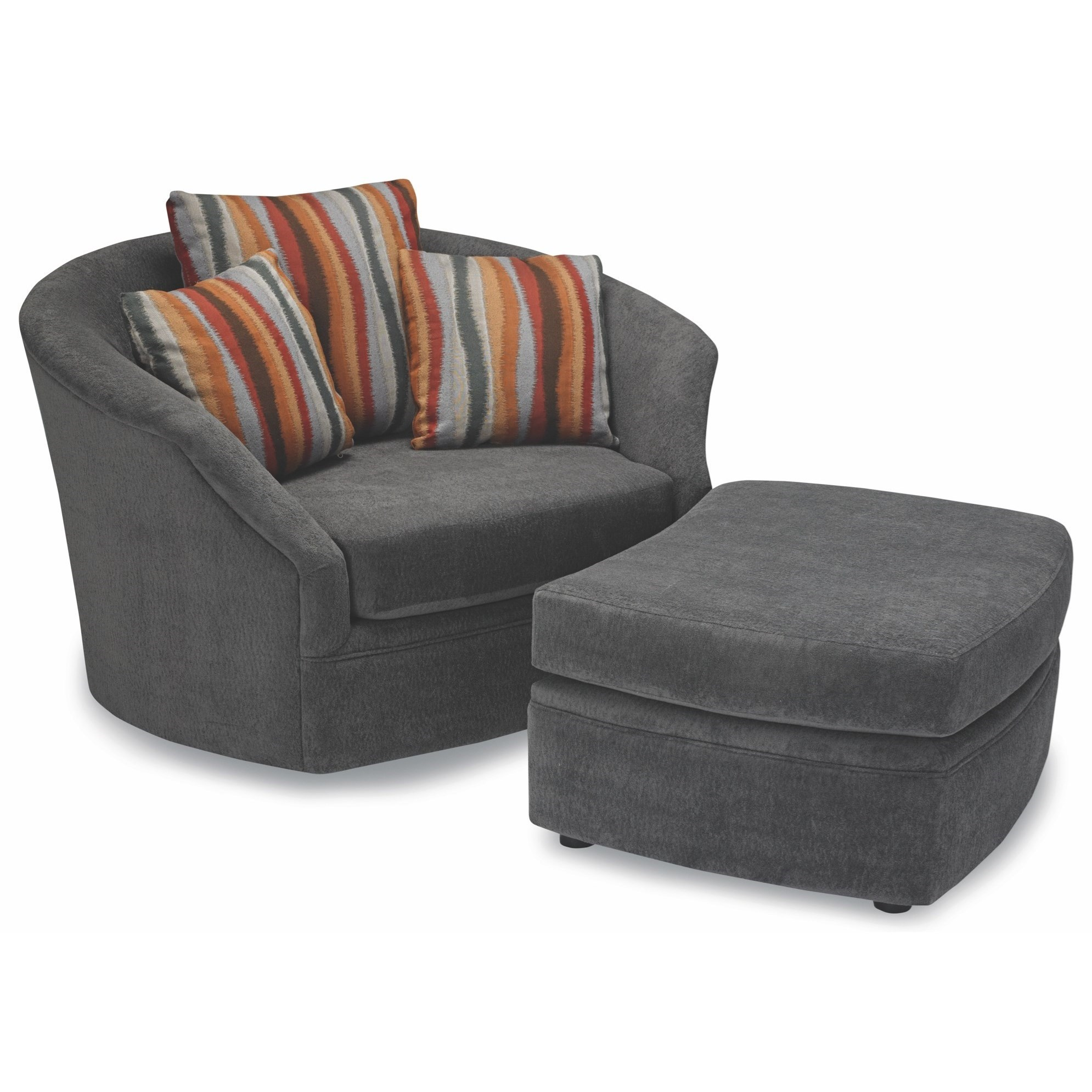 Oversized Chair And Ottoman Set 8212 Oversized Swivel Chair And Ottoman Set With Three Toss