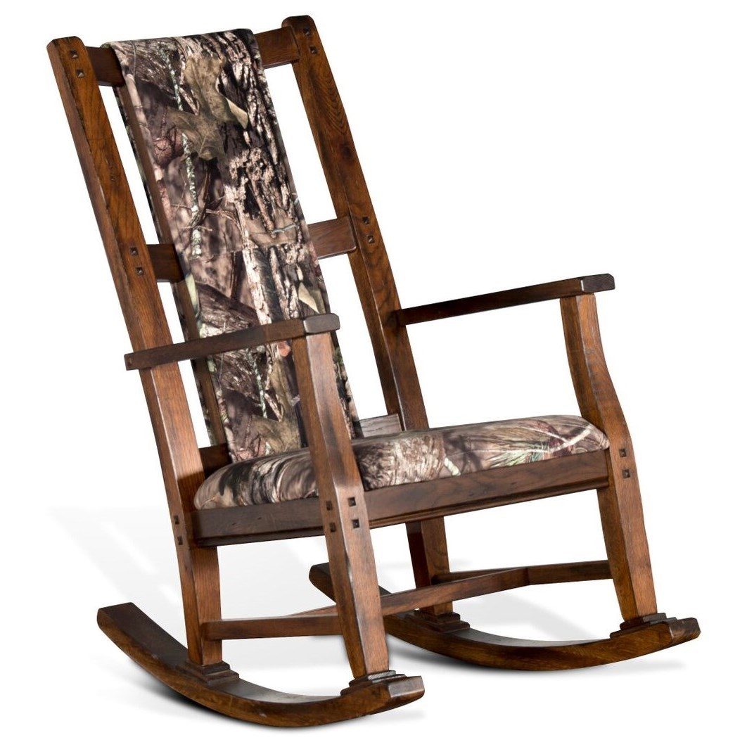 Cheap Rocking Chairs 1935 Transitional Rocking Chair With Mossy Oak Cushion Seat And Back By Sunny Designs At Suburban Furniture
