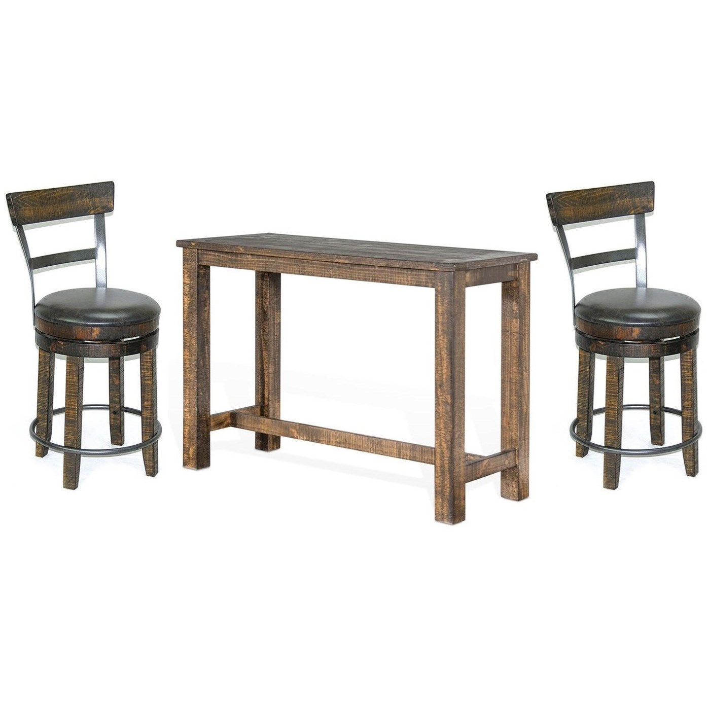 Bar Height Table And Chairs Metro Flex 3 Piece Bar Height Table Set With Distressed Finish By Sunny Designs At John V Schultz Furniture