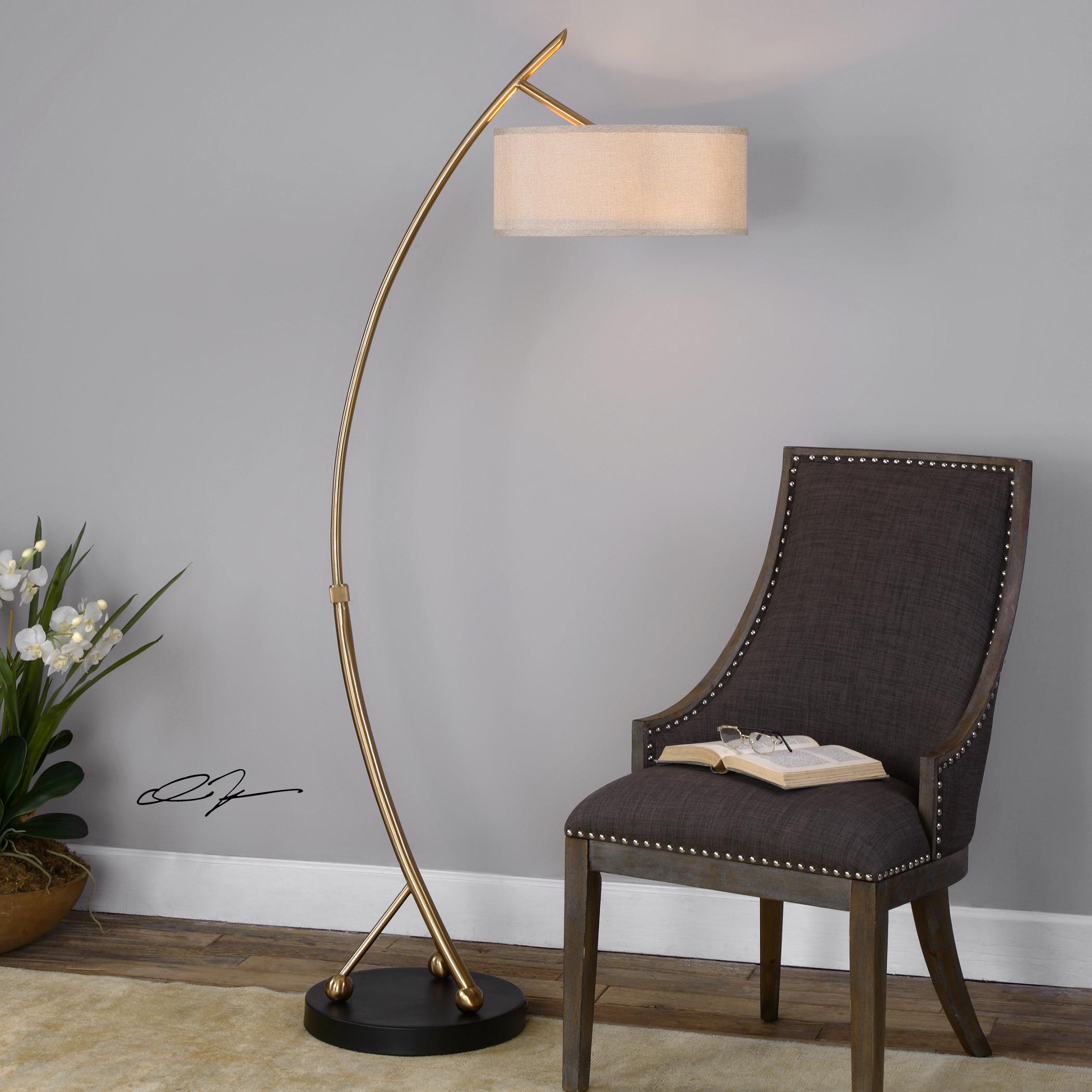 floor lamps vardar curved brass floor lamp