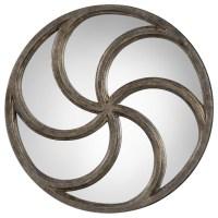 Uttermost Mirrors Spiralis Antiqued Silver Round Mirror ...