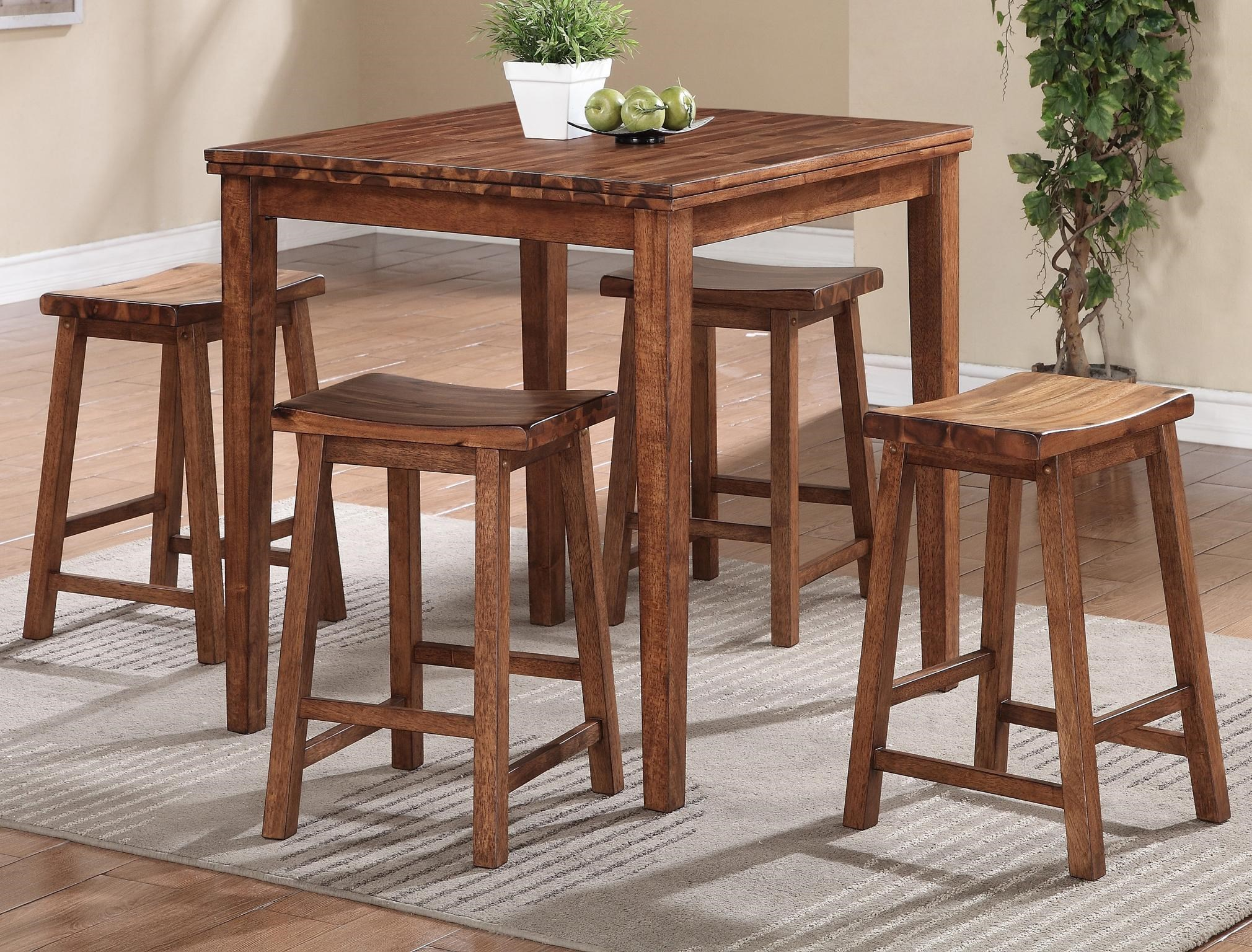 tall table and chairs for kitchen metal winners only broadway solid acacia wood 5 pc set by
