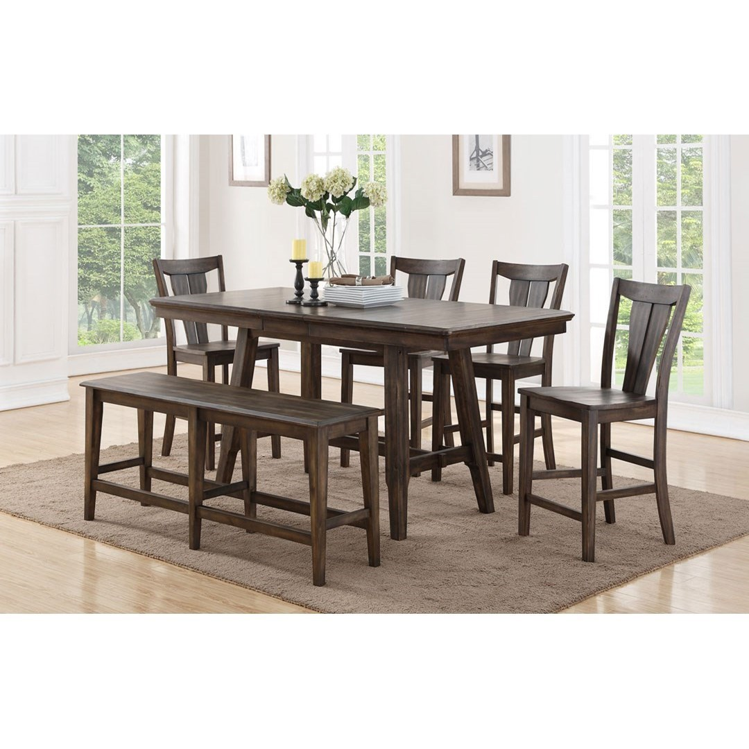 Winners Only Daphne 78 Solid Birch Counter Height Dining Table Set With Four Stools And Dining Bench Dunk Bright Furniture Table Chair Set With Bench