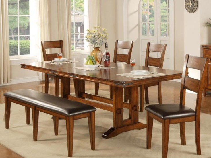 colton 6 piece trestle table, bench and chair set | rotmans | table