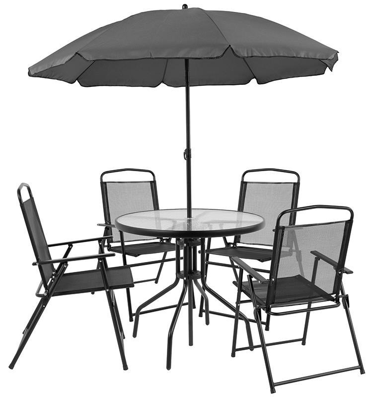 Chair With Umbrella Patio Sets Outdoor Dining Set With 4 Folding Chairs Table And Umbrella By Winslow Home At Sam Levitz Furniture