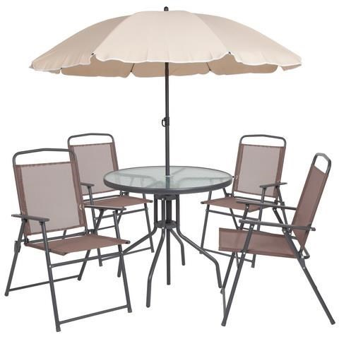 Patio Folding Chairs Patio Sets Outdoor Dining Set With 4 Folding Chairs Table And Umbrella By Winslow Home At Sam Levitz Furniture