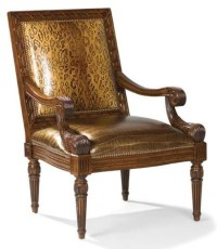 Fairfield Chairs Exposed Wood Leather Occasional Chair ...
