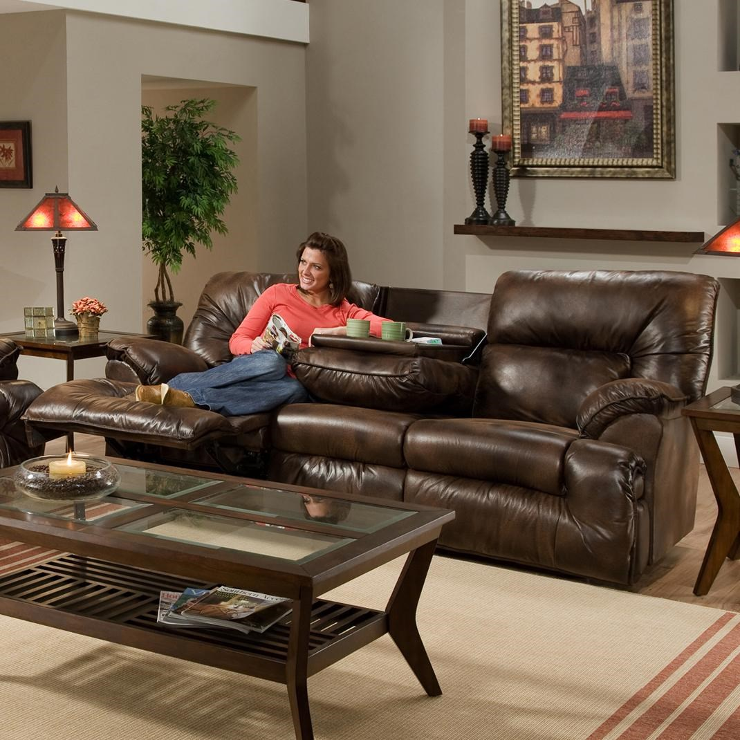 double reclining sofa with fold down table john lewis portia small leather tray recliner sofas for