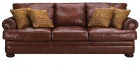 Klaussner Montezuma Casual Style Leather Sofa with Bun ...
