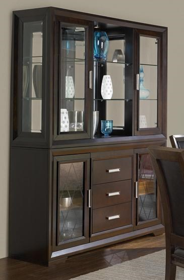Contemporary China Cabinet With Etched Glass Doors