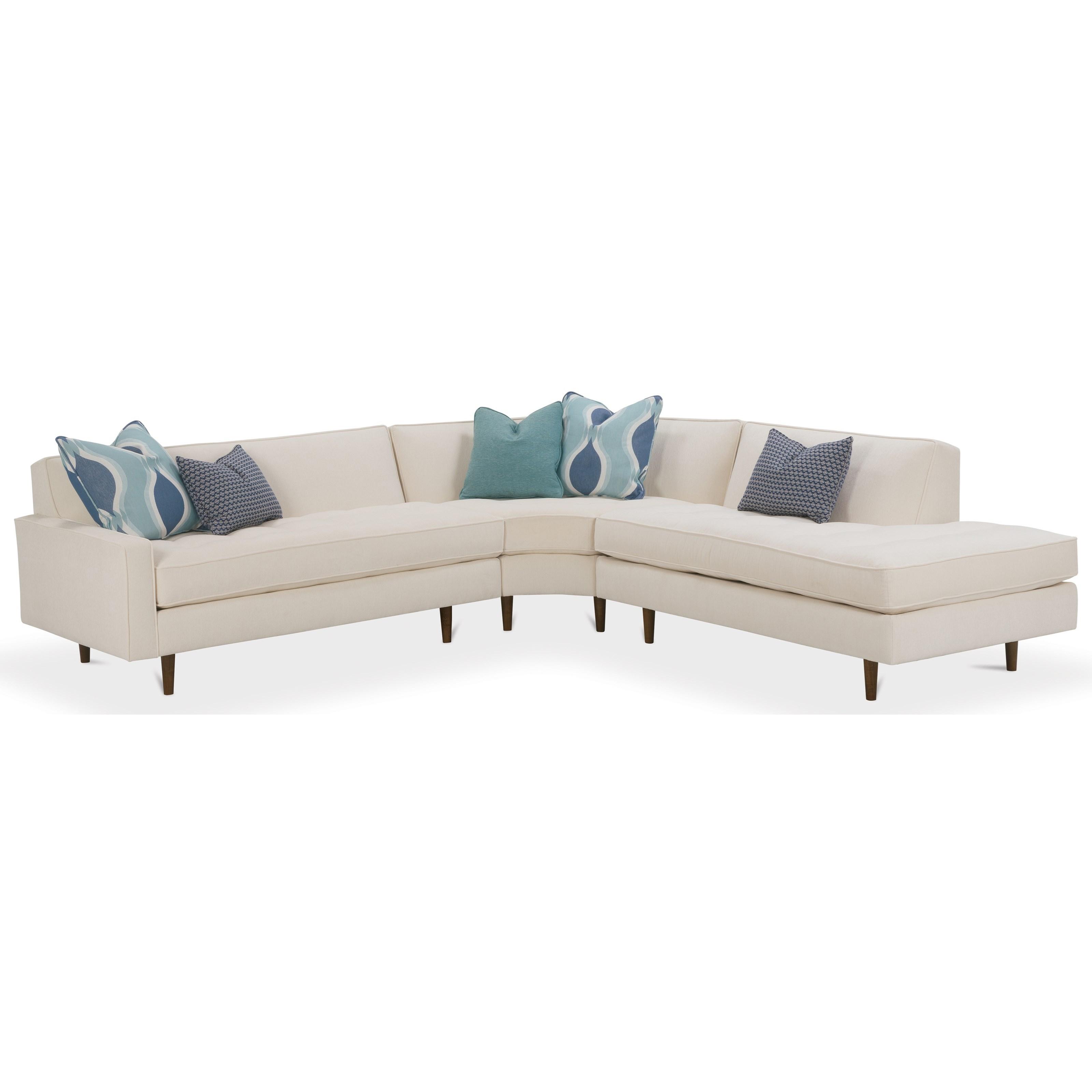 rowe masquerade sectional sofa elliot fabric microfiber 3 piece chaise barnett furniture