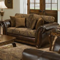 Leather And Chenille Sofa New York Modern Homelegance Beckstead