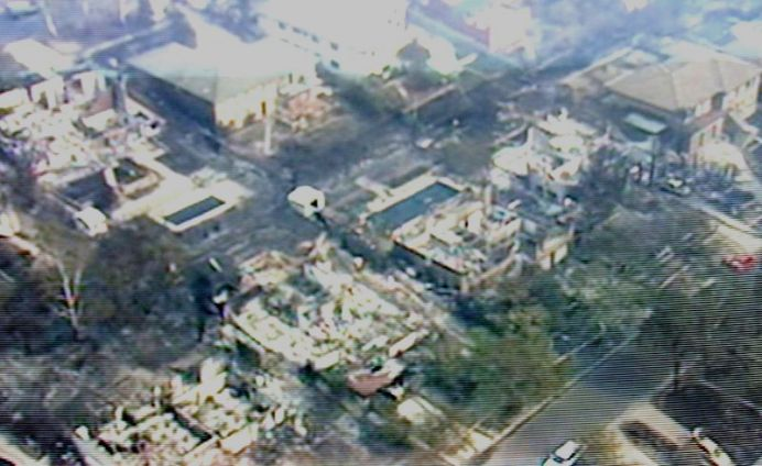An aerial shot showing the devastation in the Canberra suburbs of Chapman and Duffy following the bushfire. (AAP)