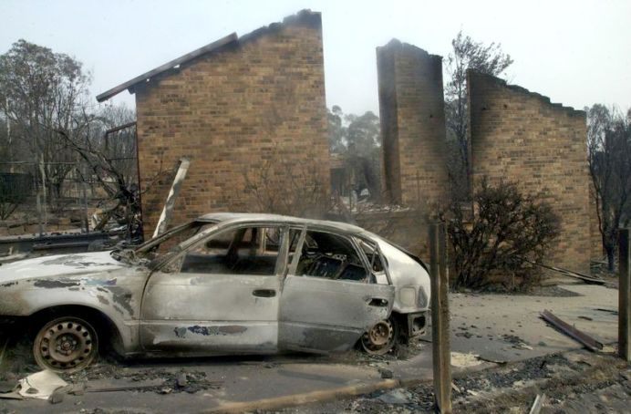 A home and car was destroyed in Chapman. (AAP)