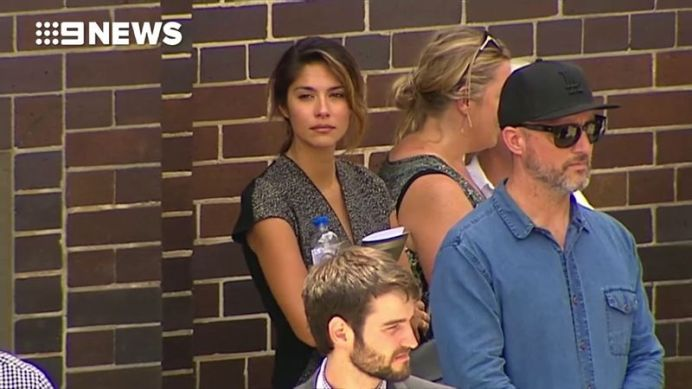 Actress Pia Miller outside the church after the funeral.