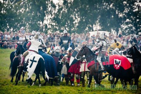 Knights fight on horseback
