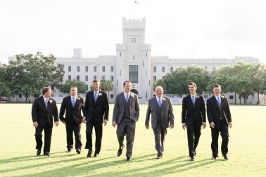 Portraits of all the groomsmen following a wedding at The Citadel.