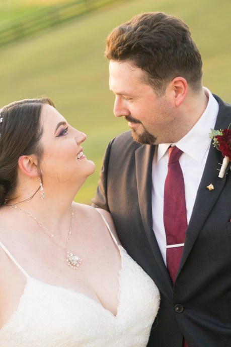 A bride and groom pose after their wedding at Hermitage Hill Farm in Waynesboro, Virginia.