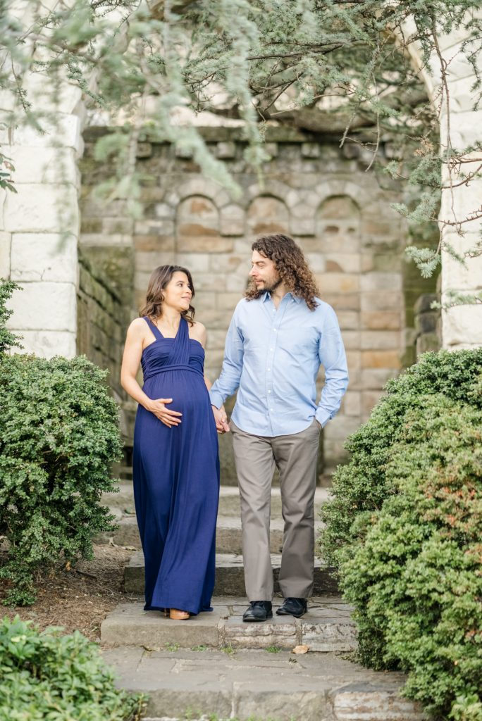Maternity session in Bishop's Garden at National Cathedral