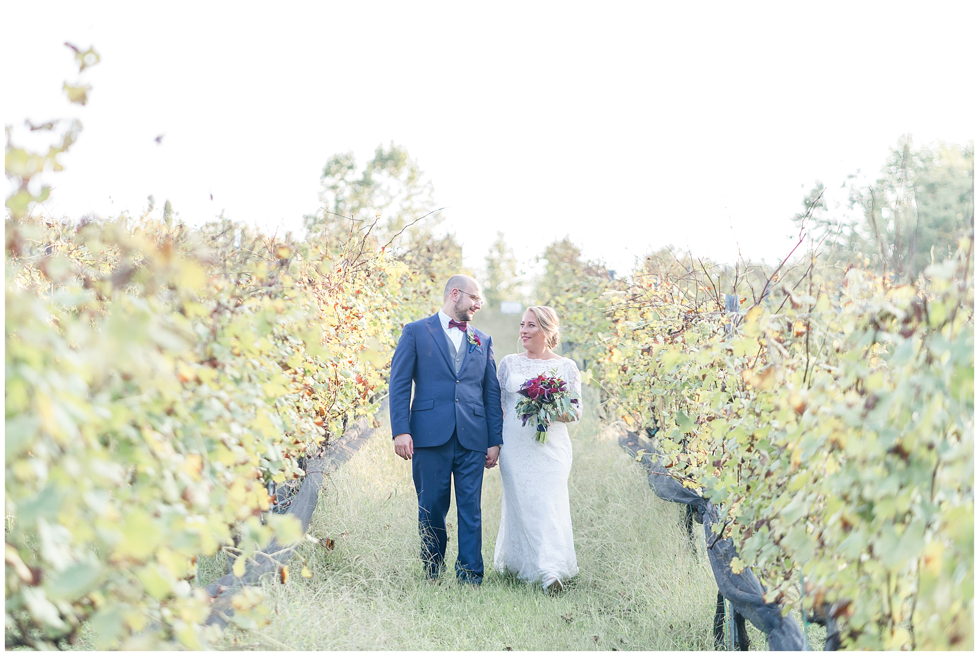 A bride and groom walk holding hands during their Wedding at Potomac Point Winery.