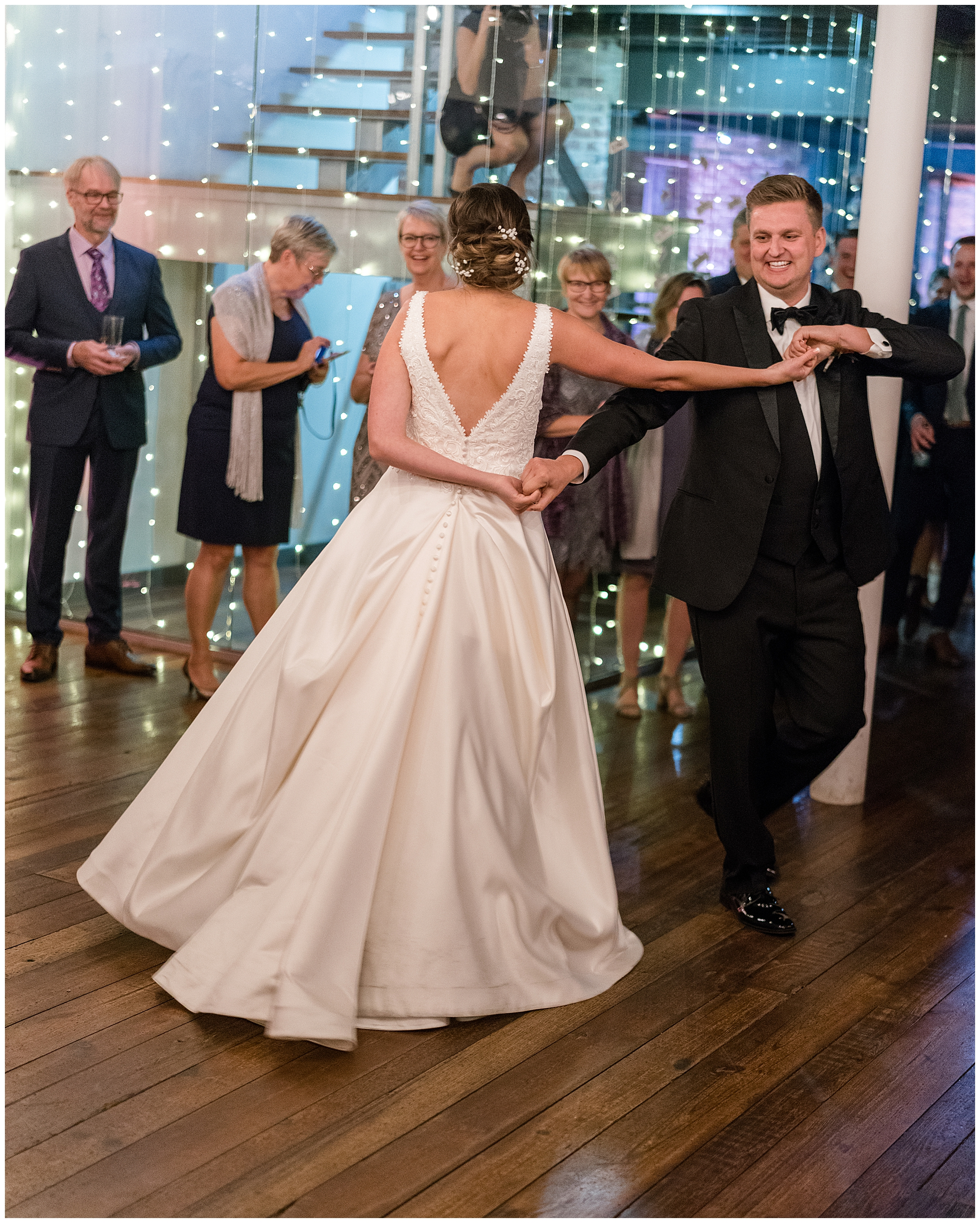 A bride and groom dance at Toolboc DC during their Washington DC wedding.