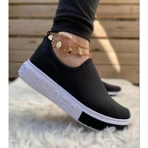 Tênis meia shoes feminino calce fácil tendência confortàvel leve mácio  estilo elegente casual preto 35 em Promoção | Ofertas na Americanas