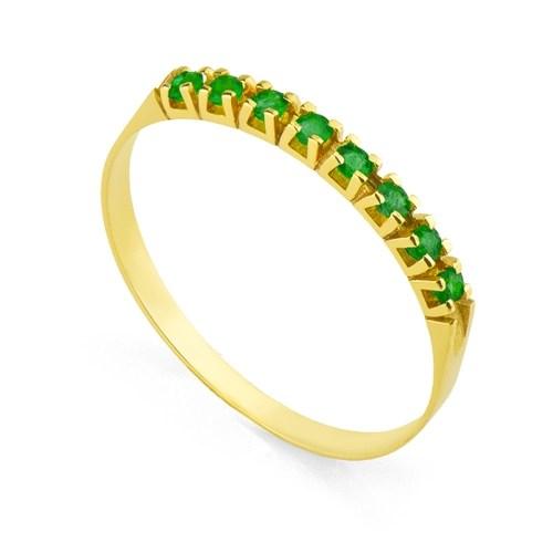 Foto 1 - Anel Em Ouro 18K Meia Aliança Com 8 Esmeraldas De 2 Pontos Cada An3239